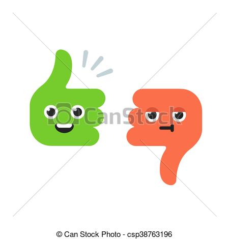 450x470 Cartoon Thumbs Up And Thumbs Down Characters With Cute Funny Faces