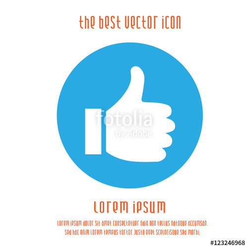 500x500 Thumb Up Vector Logo Icon. Like Round Blue White Simple Isolated