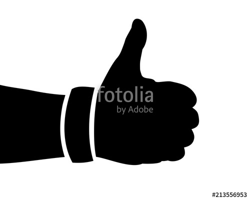 500x400 Black Hand Silhouette, Thumbs Up, Vector Illustration Stock Image