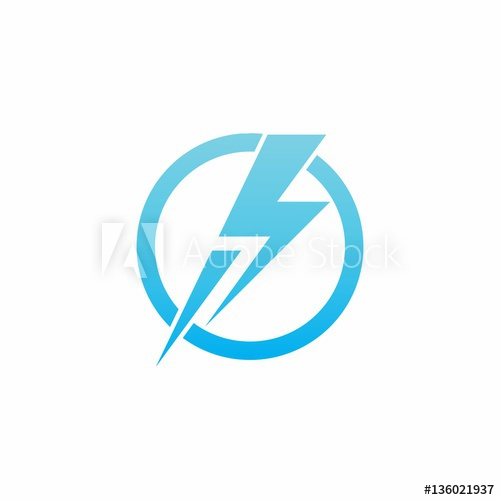 500x500 Run Thunder Bolt On Circle Logo Vector