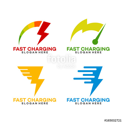 500x500 Set Of Fast Charging Logo Template With Thunder Symbol Stock