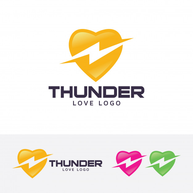 626x626 Thunder Love Vector Logo Template Vector Premium Download