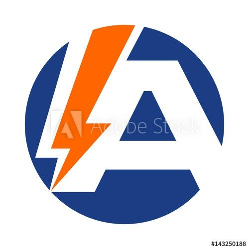 500x500 Letter Logo Vector. Bolt Logo Vector. Thunder Icon. Letter A