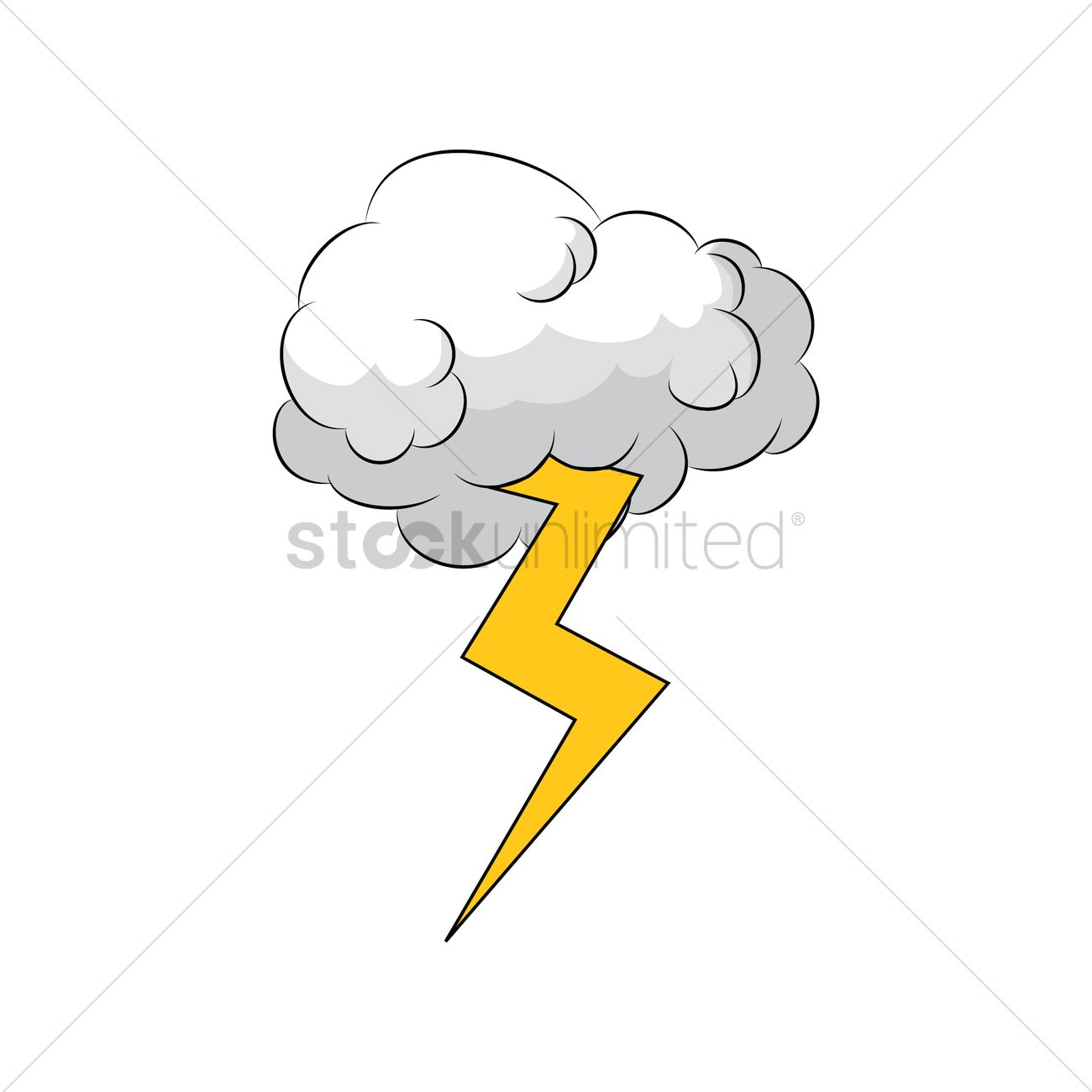 1300x1300 Comic Cloud And Thunder Vector Image