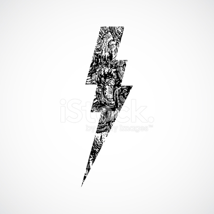 440x440 Thunderstorm Lightning Bolt, Thunder Grunge Vector Stock Vector