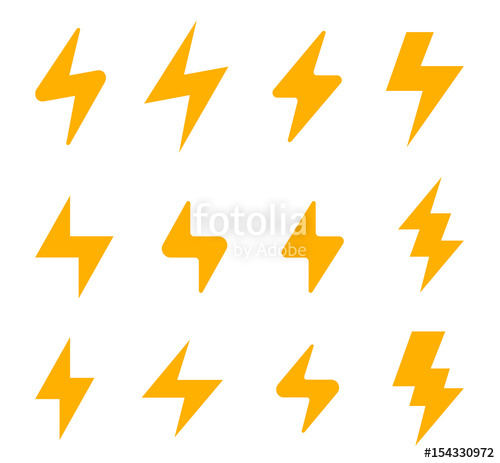 500x463 Flash Thunderbolt Vector Icons. Energy Power Electricity Speed