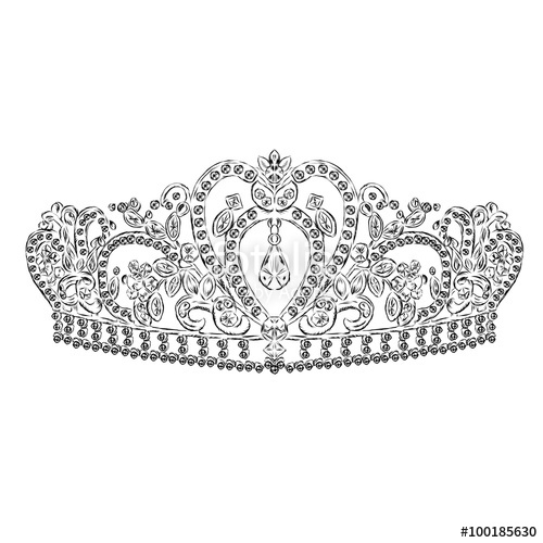 500x500 Crown Vector. Tiara. Painted Diadem. A Princess. The Royal Crown
