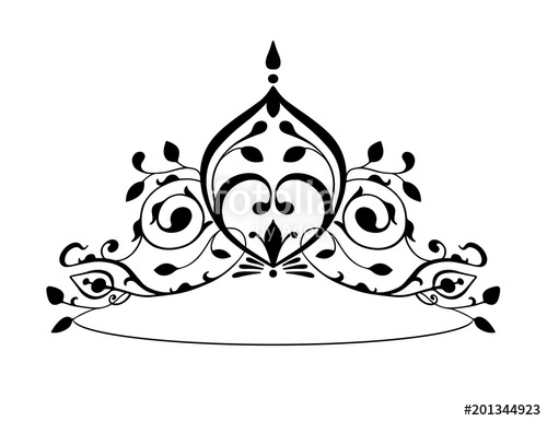 500x385 Black Princess Diadem On A Wight Background. The Crown. Vector