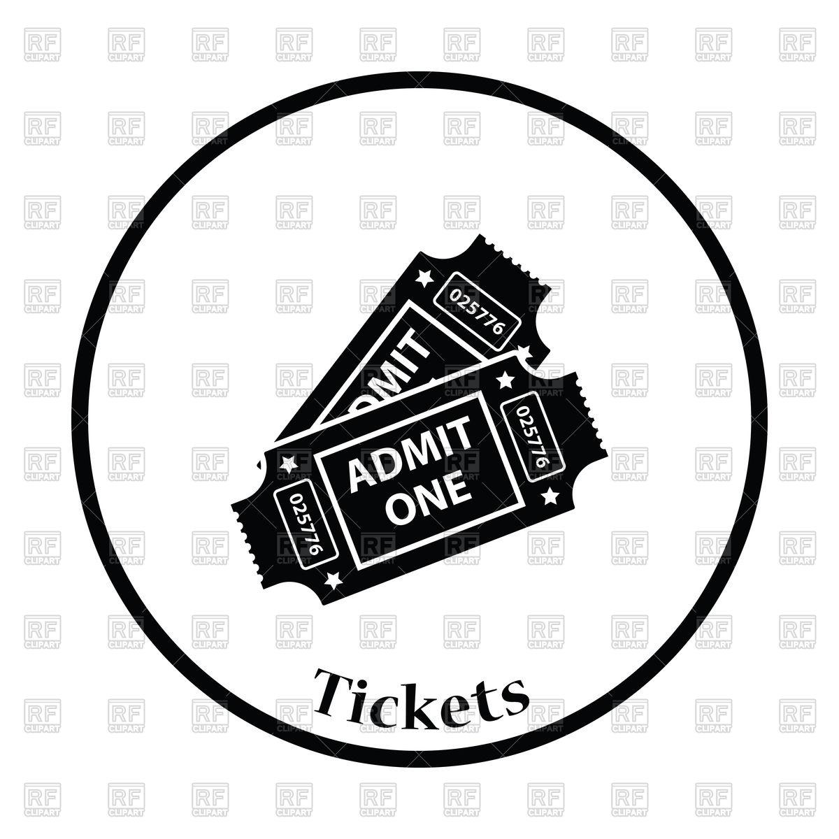 1200x1200 Thin Circle Design Of Cinema Tickets Icon Vector Image Vector