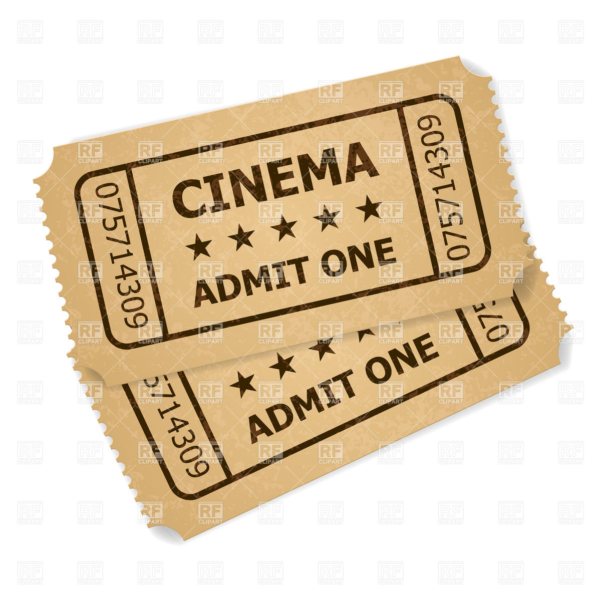 1200x1200 Two Old Cinema Tickets Vector Image Vector Artwork Of Objects