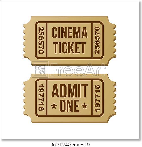 561x581 Free Art Print Of Retro Cinema Ticket. Retro Cinema Ticket. Vector