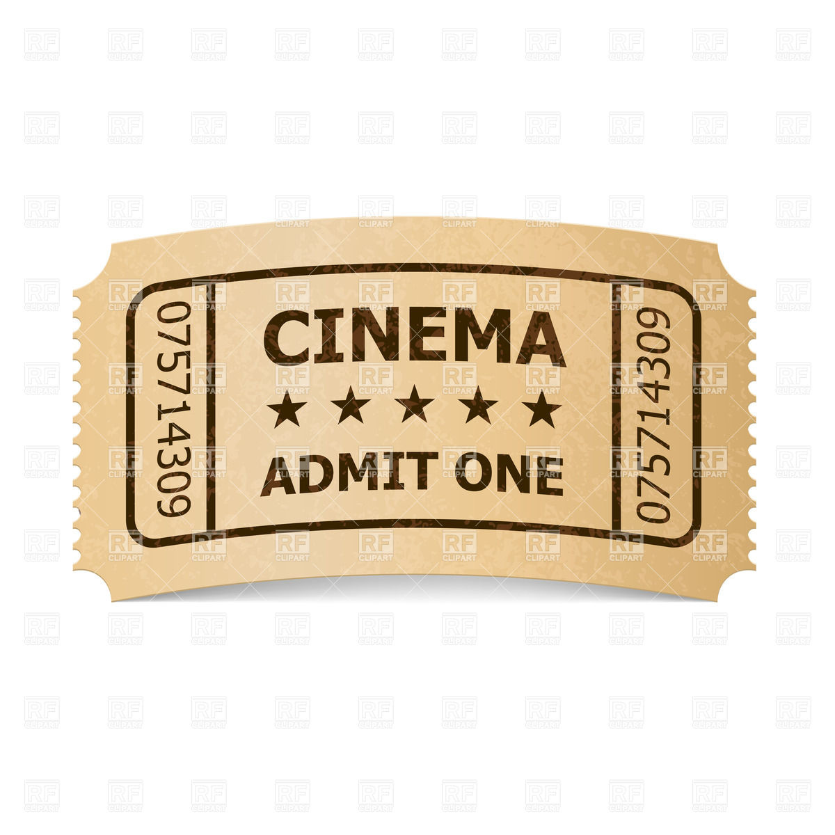 1200x1200 Retro Style Cinema Ticket Vector Image Vector Artwork Of Objects