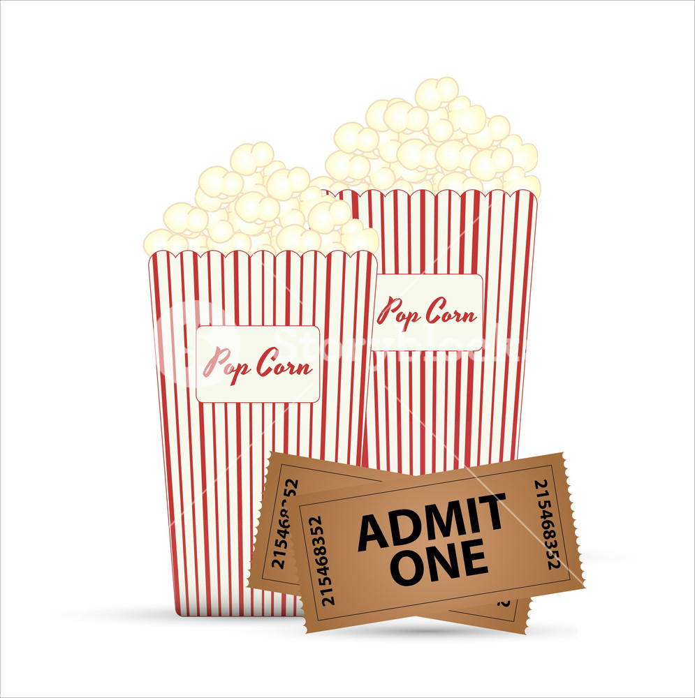 995x1000 Popcorn And Tickets Vector Designs Royalty Free Stock Image