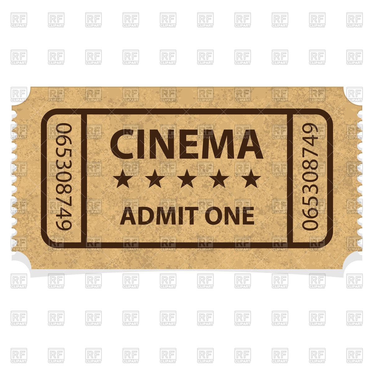 1200x1200 Retro Cinema Ticket Free Vector Image Vector Artwork Of Objects