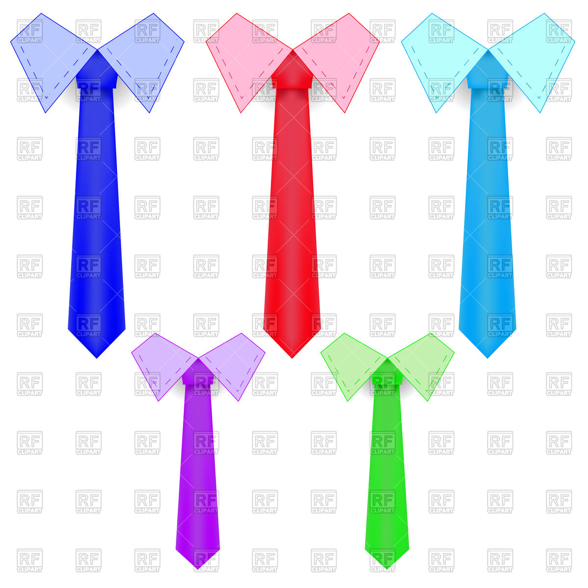 1200x1200 Set Of Colorful Plain Ties Vector Image Vector Artwork Of