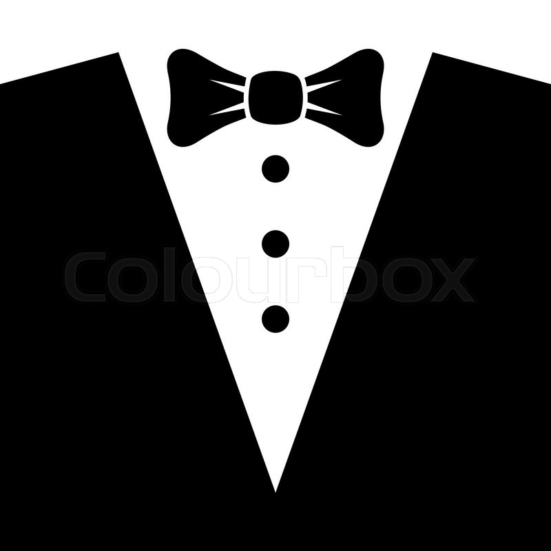800x800 Black Tuxedo With Bow Tie. Vector Illustration Stock Vector