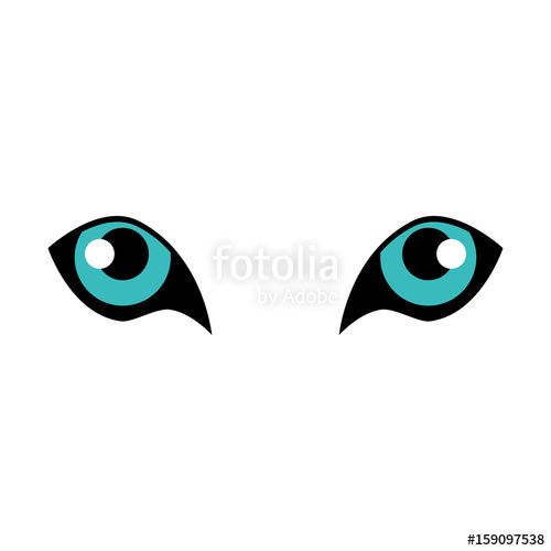 500x500 Tiger Eyes Icon Over White Background Vector Illustration Stock