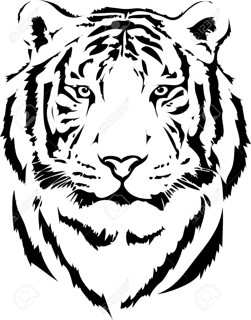 1018x1300 Collection Of Tiger Face Outline Drawing High Quality, Free