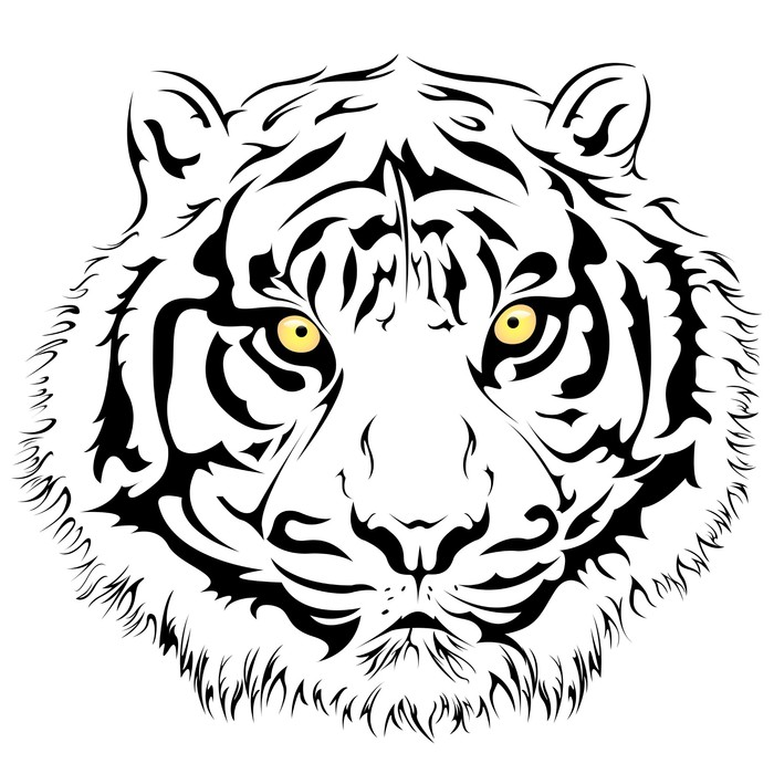 700x700 Tiger Face, Vector Wall Mural We Live To Change