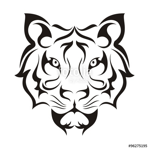 500x500 Tiger Face Tribal Template Stock Image And Royalty Free Vector