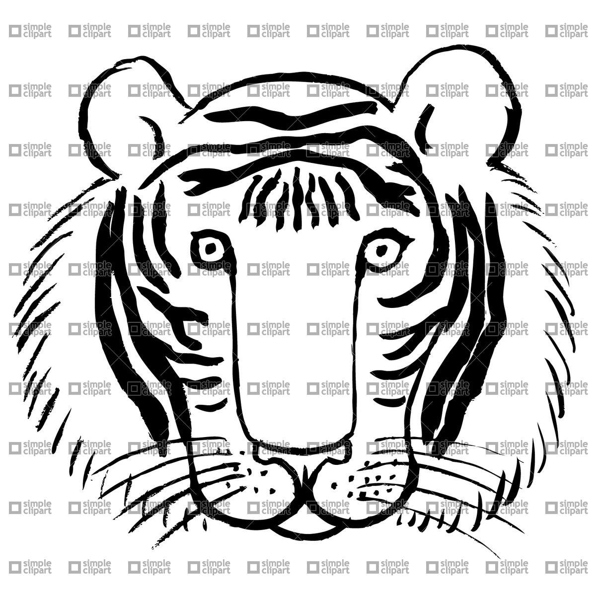 1200x1200 Tiger Face Vector Image