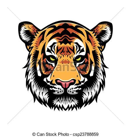 450x470 Tiger Head. Tiger Head Vector Graphic Illustration With Color.