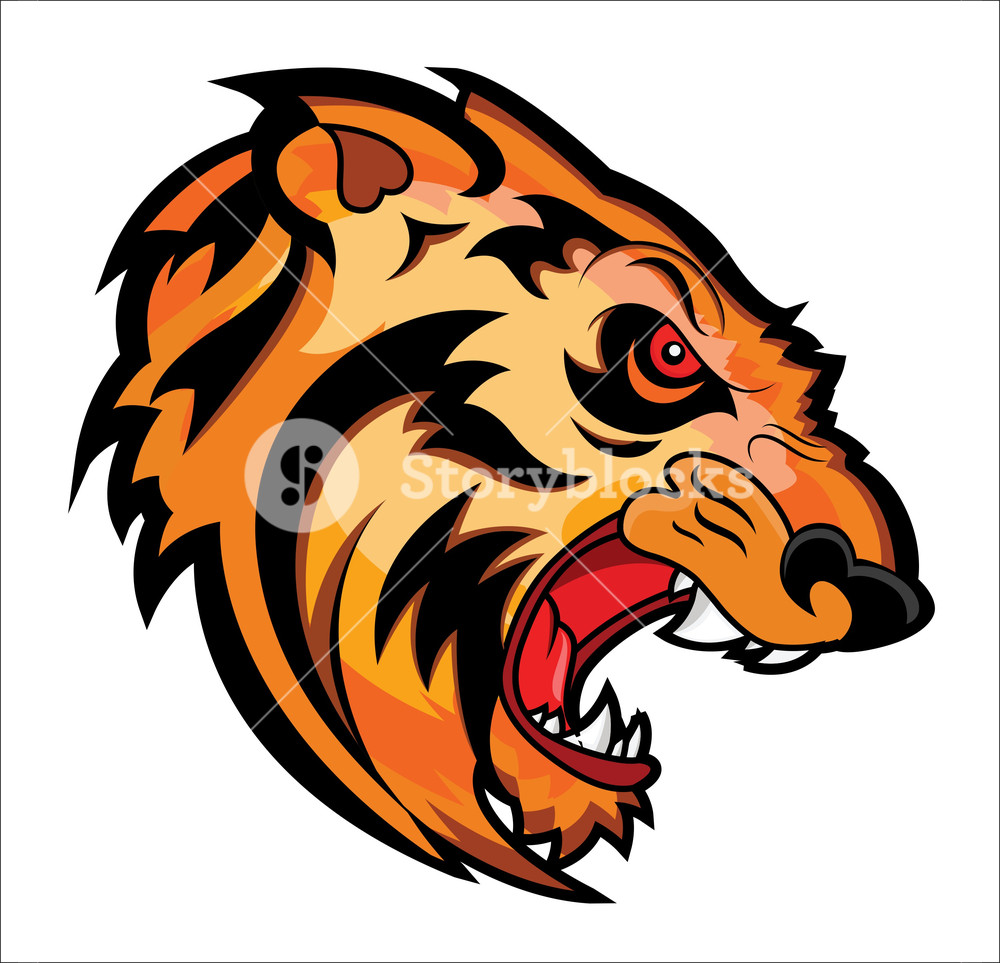 1000x963 Angry Tiger Face Mascot Vector Tattoo Royalty Free Stock Image