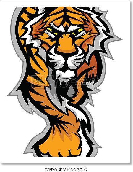 450x580 Free Art Print Of Tiger Mascot Body Vector Graphic. Graphic Mascot