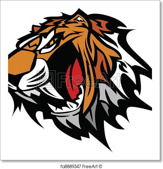 561x581 Free Art Print Of Tiger Mascot Vector Graphic. Tiger Head Graphic