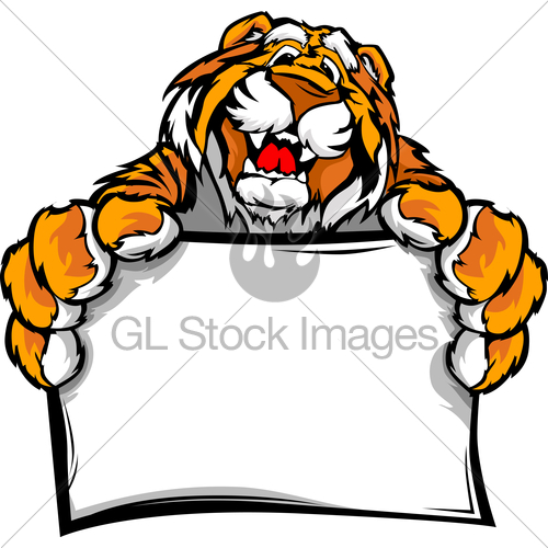 500x500 Graphic Vector Image Of A Happy Cute Tiger Mascot Holding... Gl