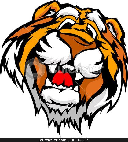 419x464 Smiling Cartoon Tiger Mascot Vector Graphic Stock Vector