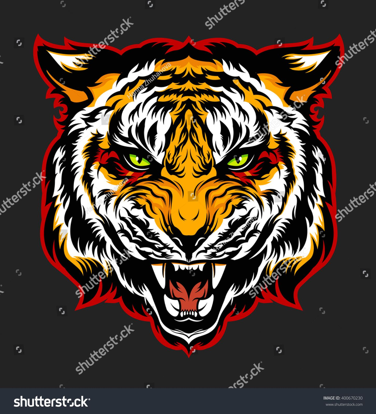 1451x1600 Angry Tiger. Mascot. Vector Illustration. Lev