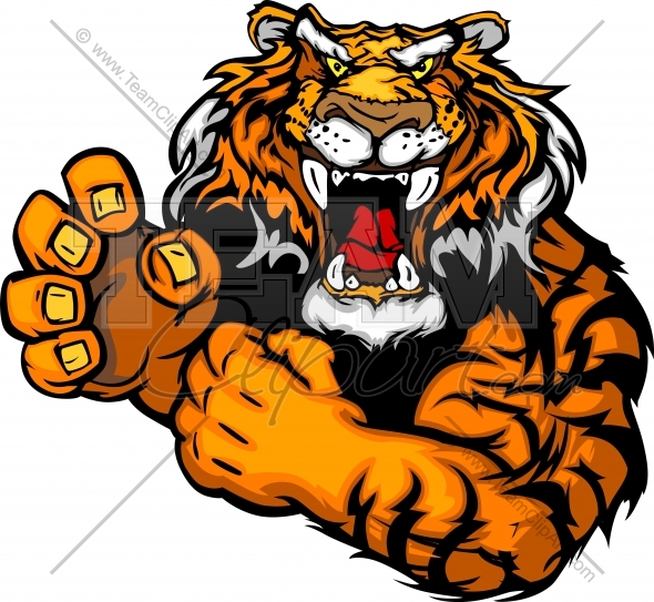590x543 Tough Tiger Mascot With Fighting Hands Vector Clipart Image