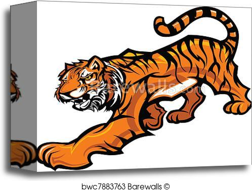 498x379 Canvas Print Of Tiger Mascot Body Vector Graphic Barewalls