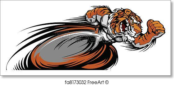 561x273 Free Art Print Of Racing Tiger Mascot Graphic Vector . Speeding