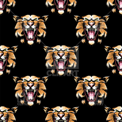 400x400 Seamless Pattern With Tiger Head On Black Background Vector Image