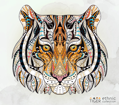 500x442 Tiger Ethnic Pattern Vector Free Download