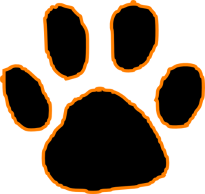 298x282 Tiger Paw Pictures Black Tiger Paw Print With Orange Outline