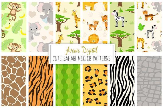 570x379 Safari Digital Paper Scrapbook Backgrounds Cute Animals Seamless