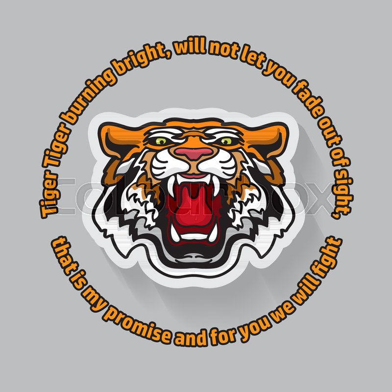 800x800 Tiger Poster Template With Angry Tiger. Vector Illustration. Save