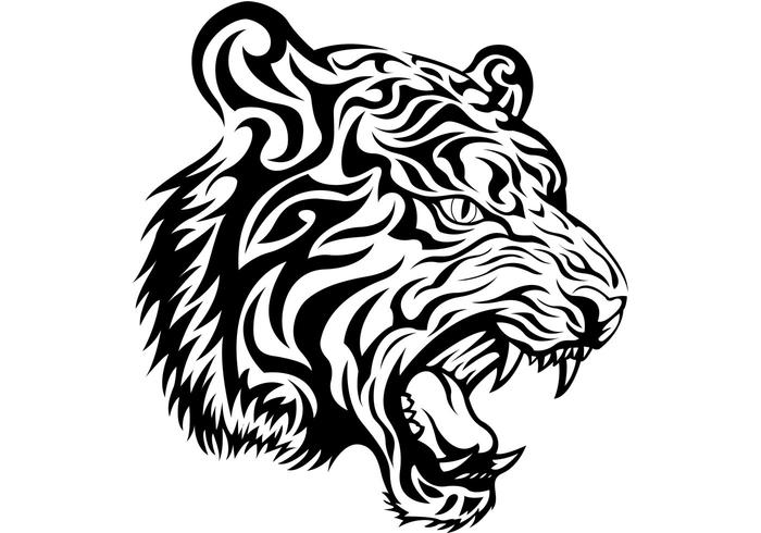 700x490 Free Tribal Tiger Vector