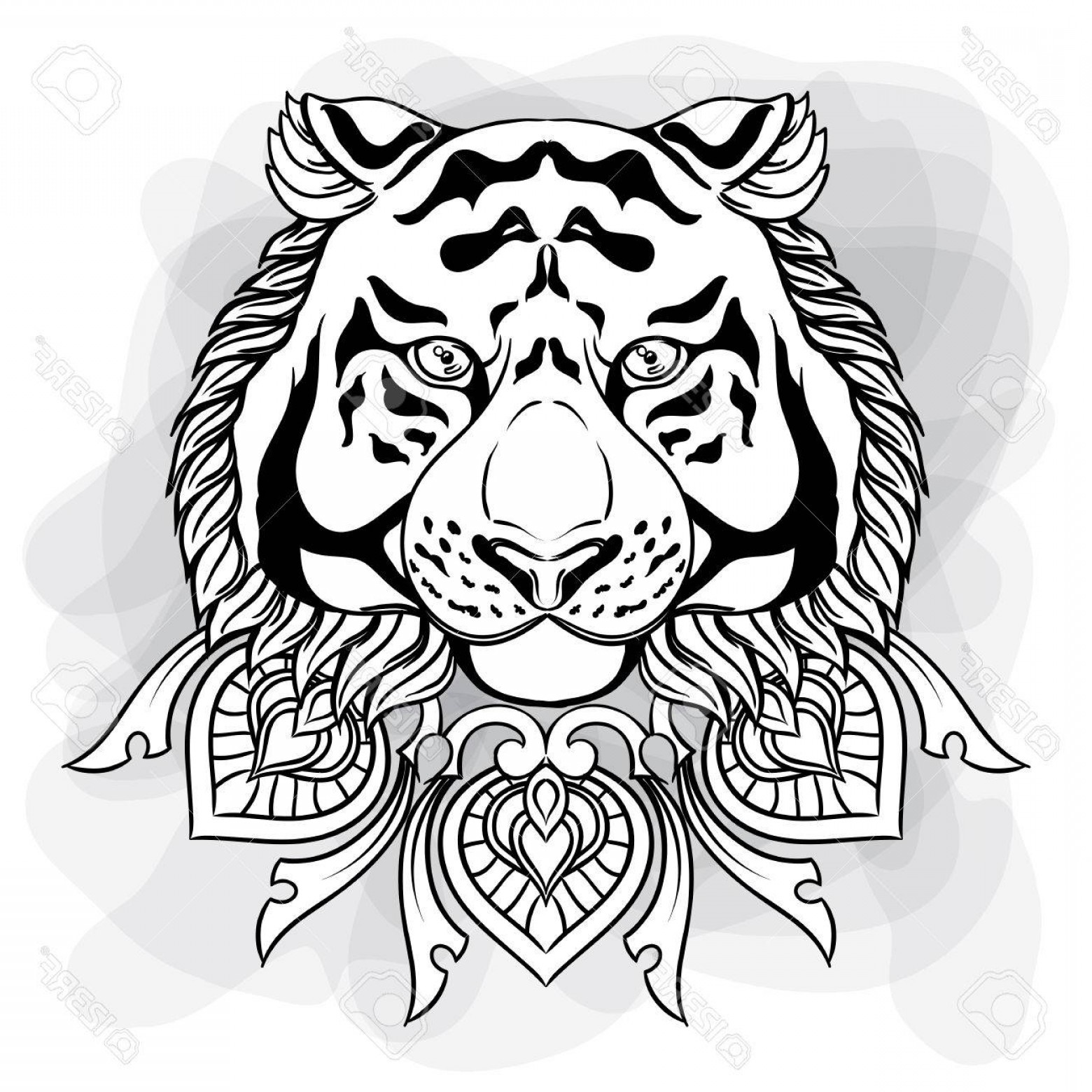 1560x1560 Photostock Vector Tiger Head With Ornament Mandala Vintage Hand