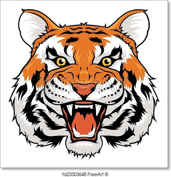 561x581 Free Art Print Of Angry Tiger. Vector Illustration Of Angry Tiger
