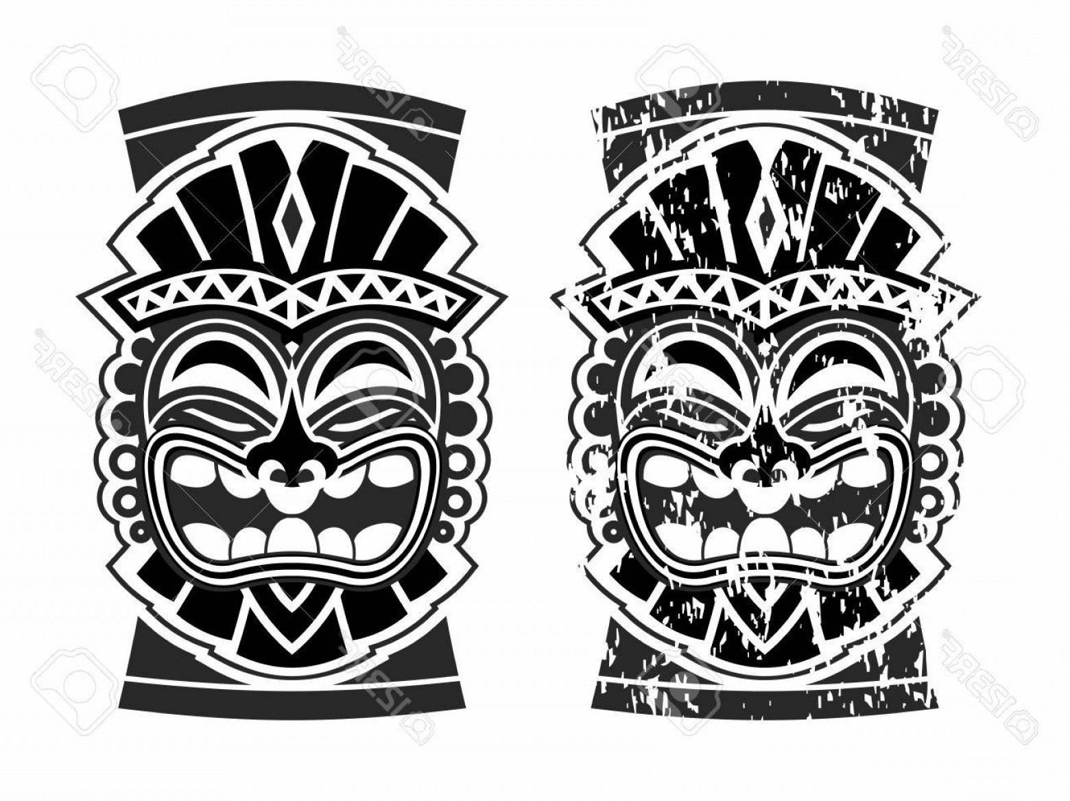 1560x1168 Photostock Vector Vector Happy Tribal Hawaiian Ethnic Tiki Mask