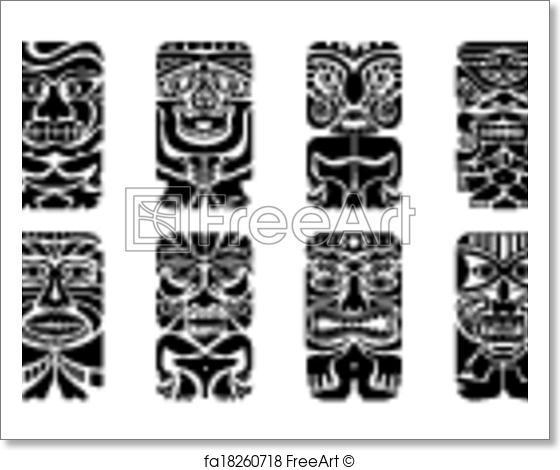 560x470 Free Art Print Of Tiki Mask. Easy To Edit Vector Illustration Of