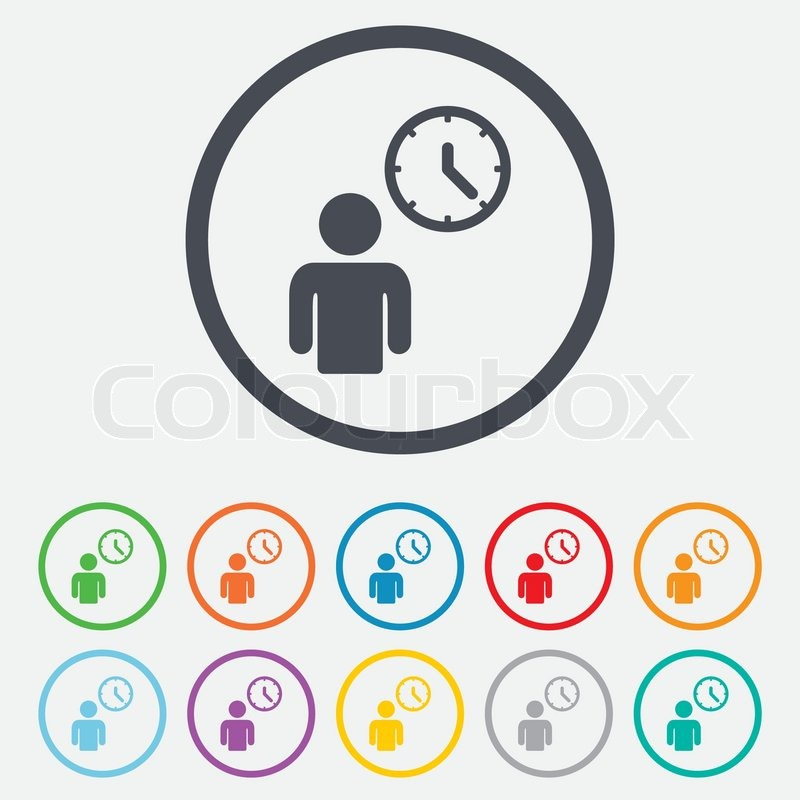 800x800 Person Waiting Sign Icon. Time Symbol. Queue. Round Circle Buttons