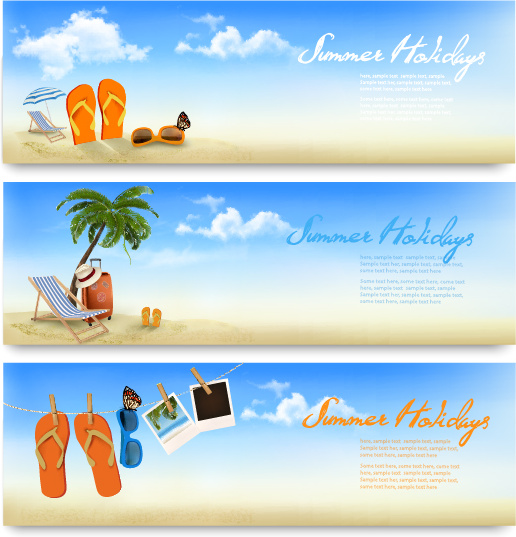 516x537 Summer Holiday Travel Time Vector Banner Free Vector In