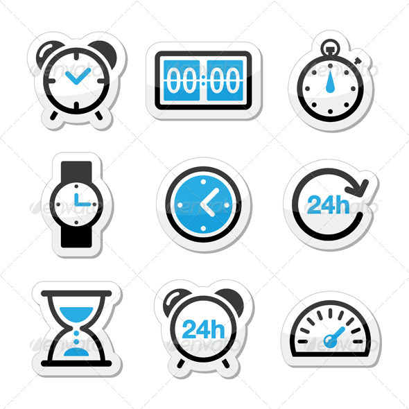 590x590 Time Clock Vector Icons Set By Redkoala Graphicriver