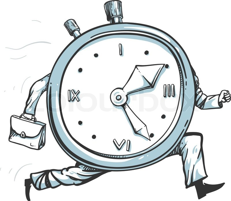800x696 Vector Illustration Of A Clock Character Running Of Time Stock