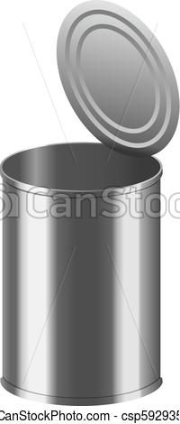 200x470 Open Tin Can Mockup, Realistic Style. Open Tin Can Mockup